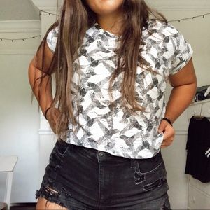 Black and White Bird Print Cropped Top